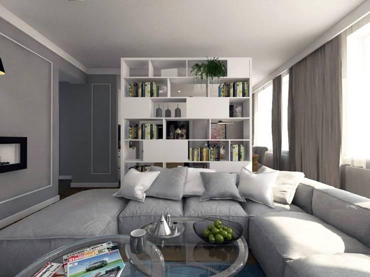 Apartament w centrum Krakowa: styl , w kategorii Salon zaprojektowany przez MONOstudio,Klasyczny
