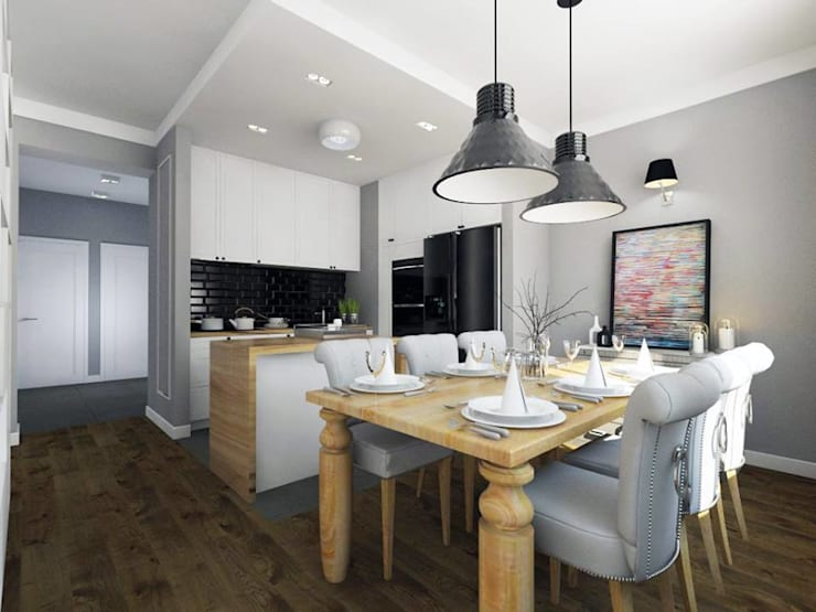 Apartament w centrum Krakowa: styl , w kategorii Kuchnia zaprojektowany przez MONOstudio