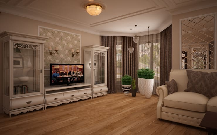 Гостиная коттеджа в г. Домодедово в классическом стиле.: Гостиная в . Автор – дизайн-бюро ARTTUNDRA,