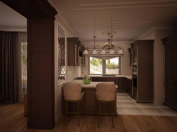 Гостиная коттеджа в г. Домодедово в классическом стиле.: Кухни в . Автор – дизайн-бюро ARTTUNDRA,