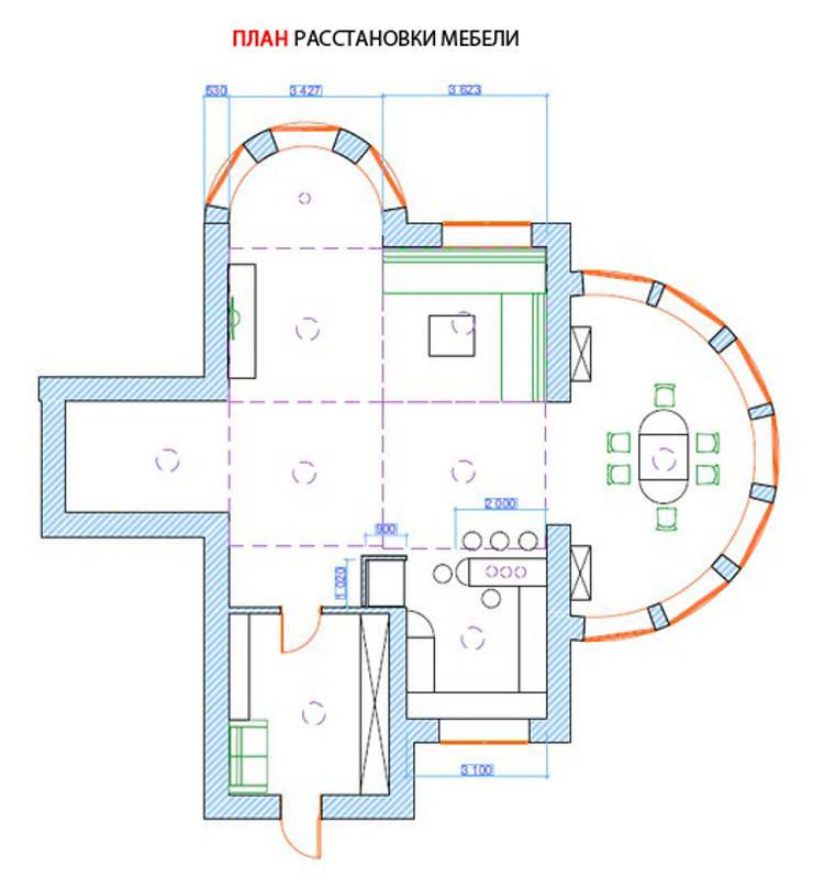 Гостиная коттеджа в г. Домодедово в классическом стиле.:  в . Автор – дизайн-бюро ARTTUNDRA,
