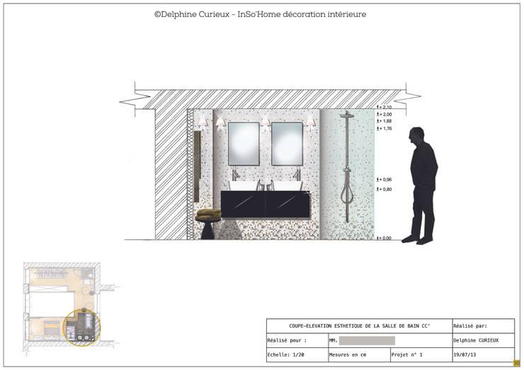 Elévation salle de bain: Salle de bains de style  par INSO'HOME Décoration Intérieure