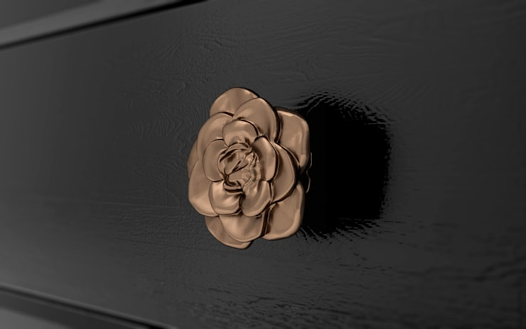 'Caxton Rose Trellis' design as 3D printed drawer handles:  Living room by Caxton Rhode