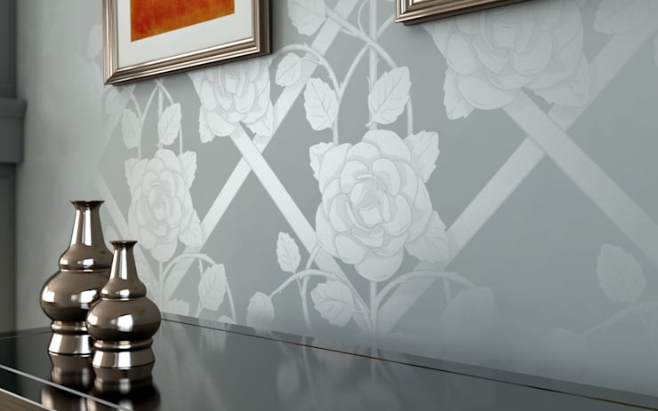 'Caxton Rose Trellis' design as wallpaper:  Living room by Caxton Rhode