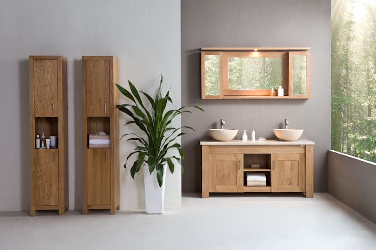 Stonearth - Finesse Oak washstand double basins: scandinavian Bathroom by Stonearth Interiors Ltd