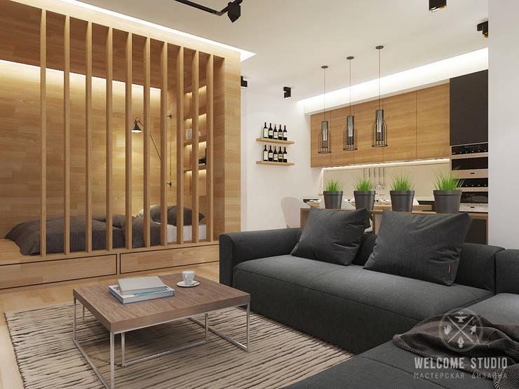 Общее пространство ракурс 1: Гостиная в . Автор – Мастерская дизайна Welcome Studio