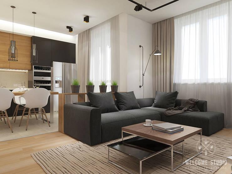 Общее пространство ракурс 2: Гостиная в . Автор – Мастерская дизайна Welcome Studio