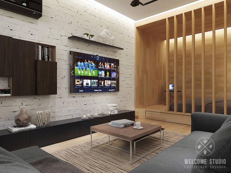 Общее пространство ракурс 5: Гостиная в . Автор – Мастерская дизайна Welcome Studio