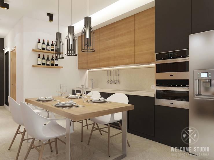 Общее пространство ракурс 6: Кухни в . Автор – Мастерская дизайна Welcome Studio