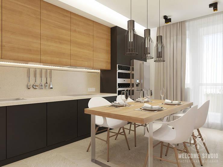 Общее пространство ракурс 7: Кухни в . Автор – Мастерская дизайна Welcome Studio
