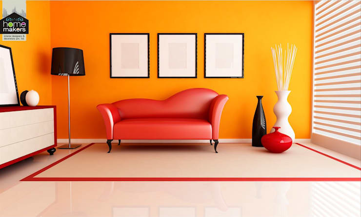 Orange Living Room: modern Living room by home makers interior designers & decorators pvt. ltd.
