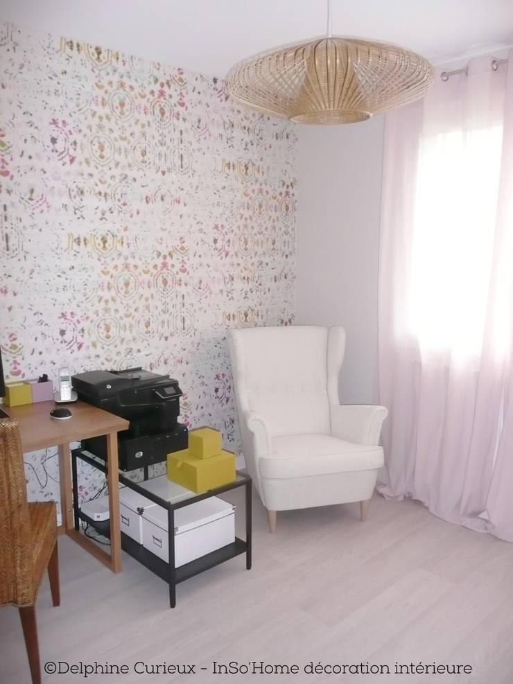 Bureau avec fauteuil: Bureau de style  par INSO'HOME Décoration Intérieure