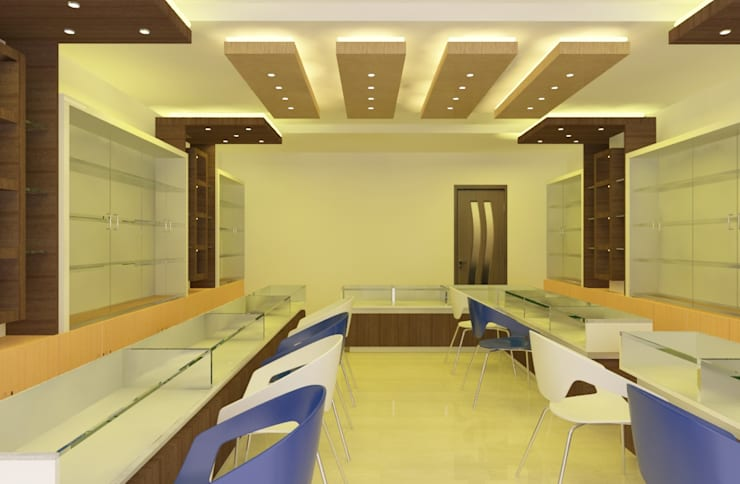 Proposed Jewelry Showroom Interiors for M/s. Mahalakshmi Jewellers, Chennai :   by Quadrantz Consultants