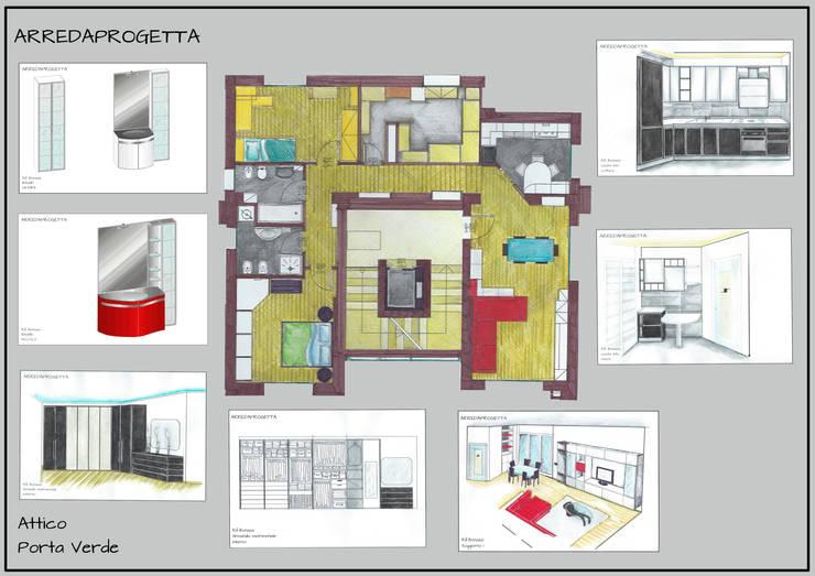 Pianta Attico: Case in stile  di Arreda Progetta di Alice Bambini