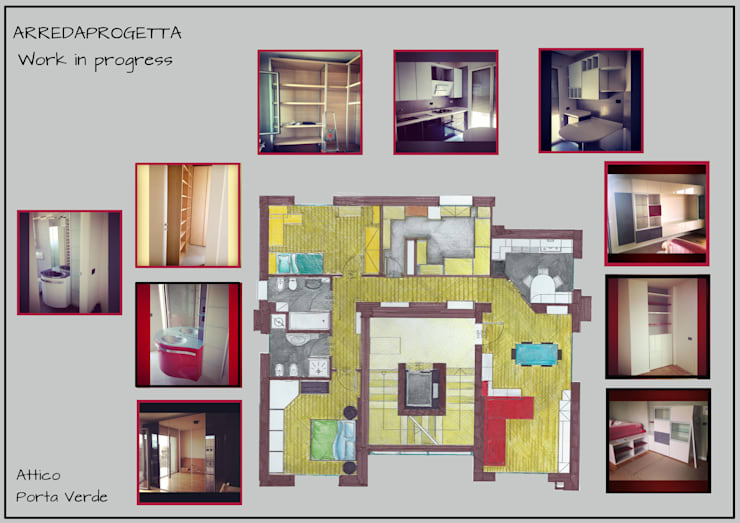 Pianta Attico: Case in stile in stile Moderno di Arreda Progetta di Alice Bambini