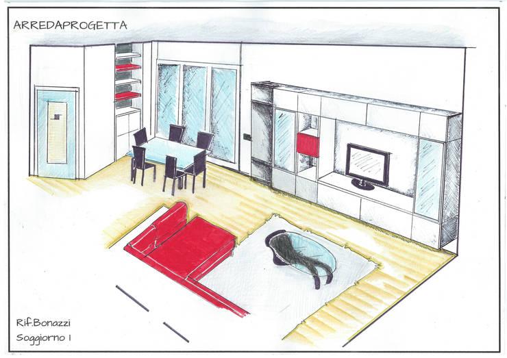 Progetto Soggiorno: Case in stile  di Arreda Progetta di Alice Bambini