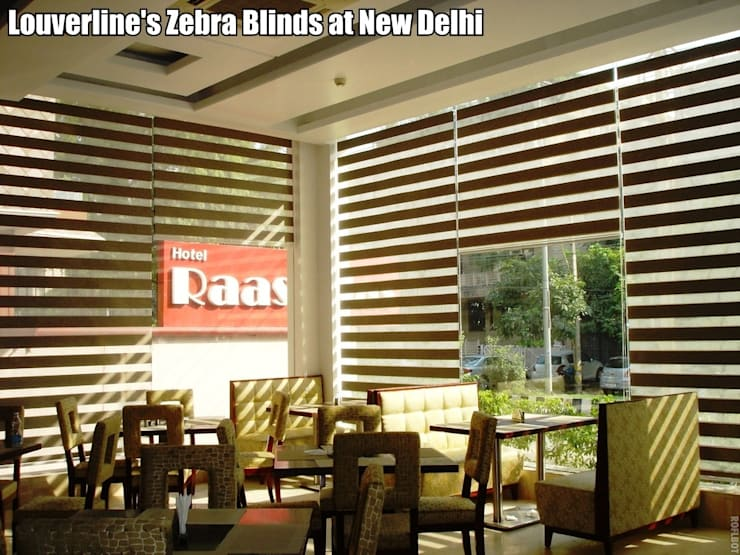 Zebra Window Blinds / Shades:  Living room by Louverline Blinds