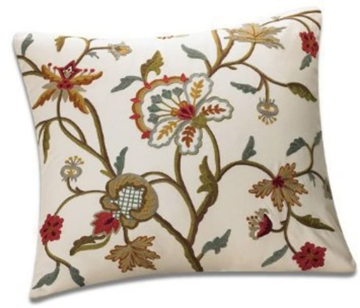 Crewel Cushion:   by Crewel Fabric From Zia Enterprises