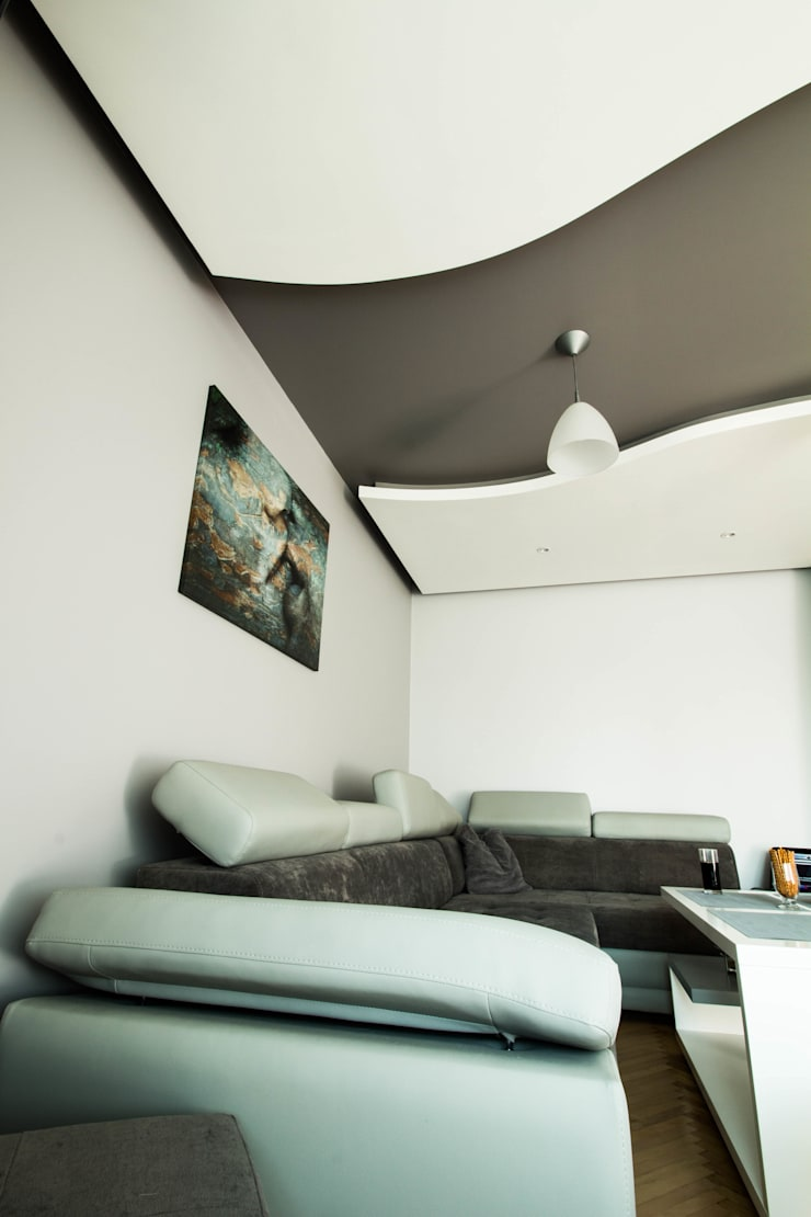 Nowoczesny salon w Chrzanowie - projekt i wykonanie www.twindesign.pl: styl , w kategorii Salon zaprojektowany przez Bednarski - Usługi Ogólnobudowlane,Nowoczesny