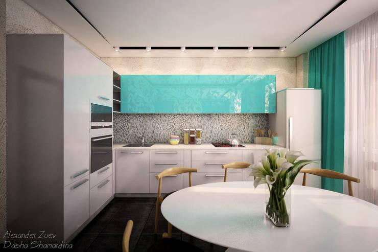 """Дизайн кухни-гостиной в современном стиле в ЖК """"Янтарный"""": Кухни в . Автор – Студия интерьерного дизайна happy.design,"""