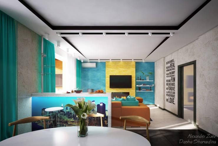 """Дизайн кухни-гостиной в современном стиле в ЖК """"Янтарный"""": Гостиная в . Автор – Студия интерьерного дизайна happy.design"""