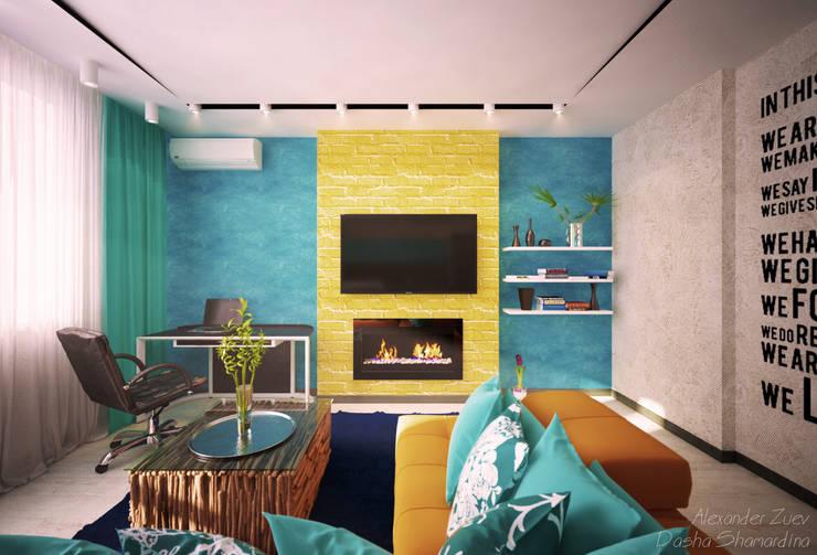 """Дизайн кухни-гостиной в современном стиле в ЖК """"Янтарный"""": Гостиная в . Автор – Студия интерьерного дизайна happy.design,"""