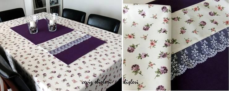 Ceviz El İşleri – Mor çiçekli masa örtüsü:  tarz Mutfak