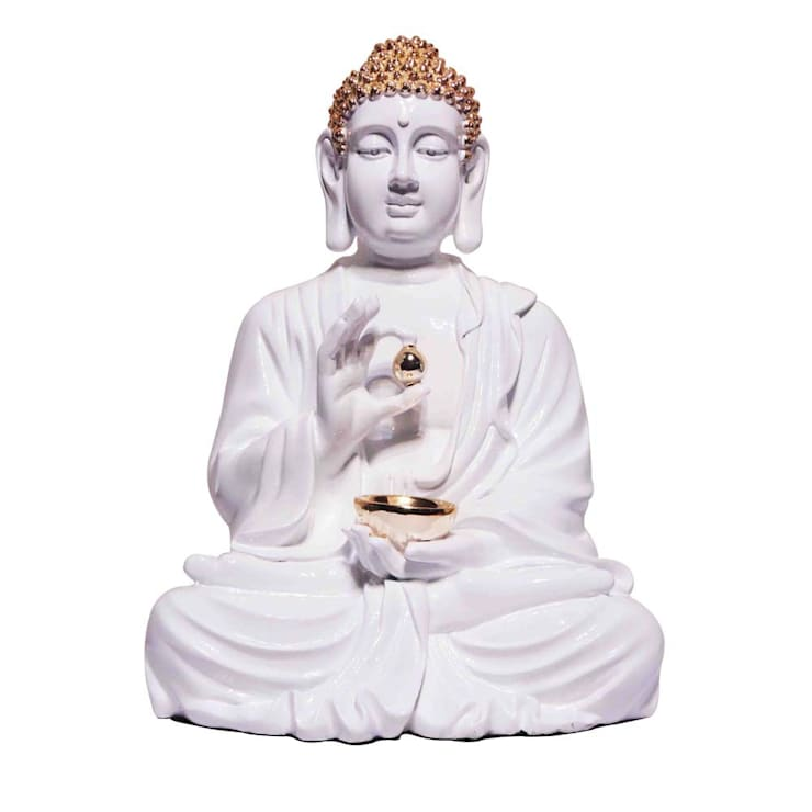 Lord Buddha Statue Holding Golden Begging Bowl:  Artwork by M4design