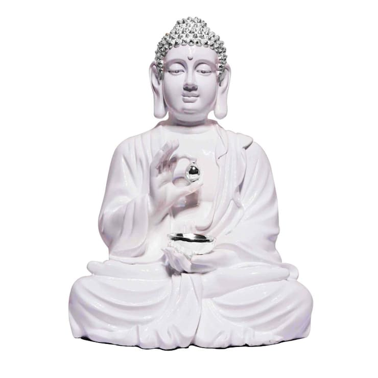 Lord Buddha Lotus Sculpture With Silver Begging Bowl:  Artwork by M4design
