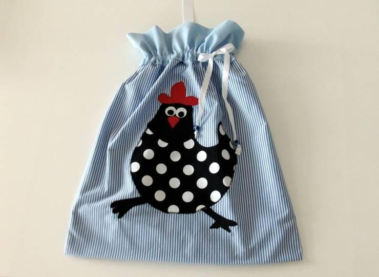 Ceviz El İşleri – Tavuk aplikeli mavi ekmek torbası:  tarz Mutfak