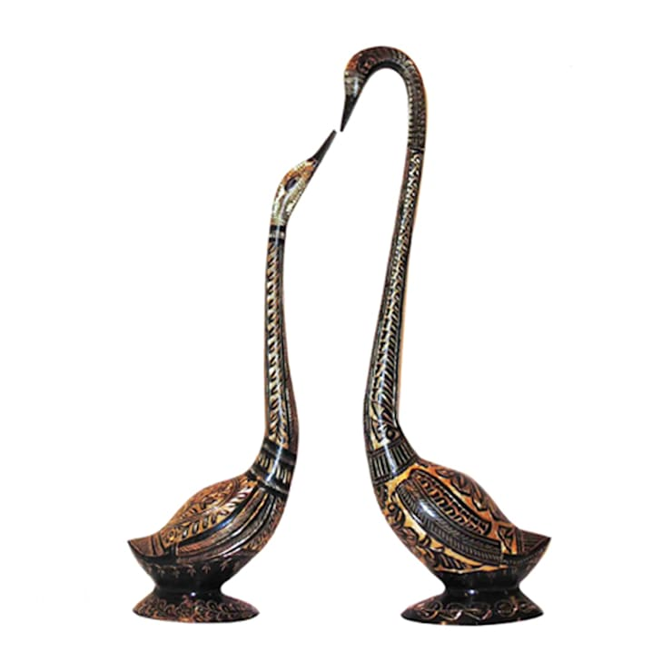 Fine Engraved Black Swan Pair Brass Sculpture:  Artwork by M4design