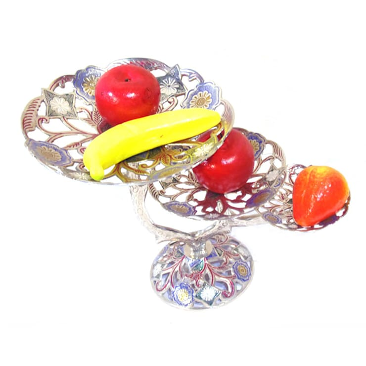 3 Tier Nickel Plated Brass Perforated Fruit Stand:  Kitchen by M4design
