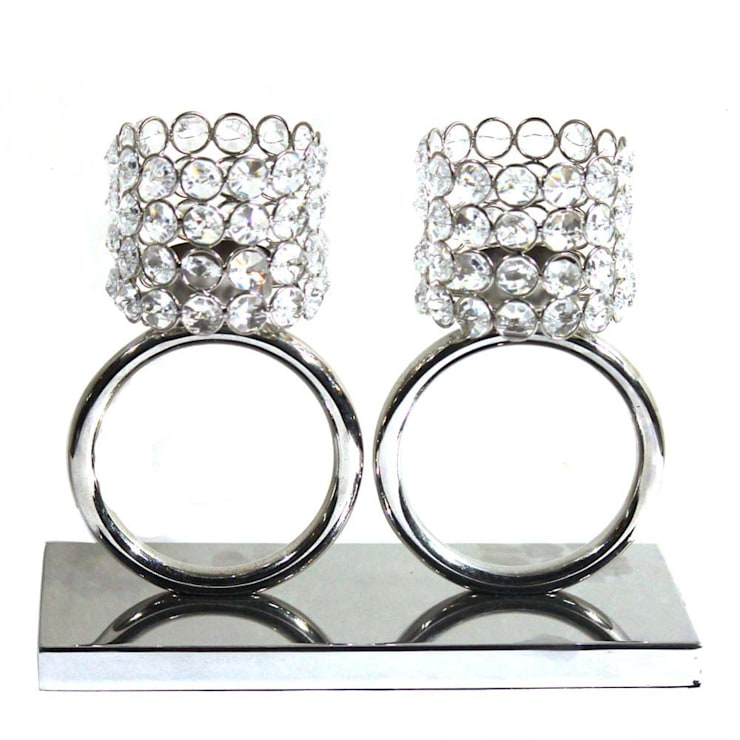 Twin Crystal Ring Tea Light Holders:  Kitchen by M4design,