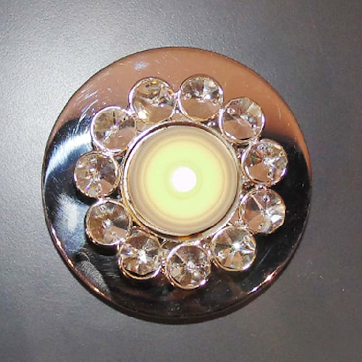 Round Crystal Floral Tealight Candle Holders:  Dining room by M4design