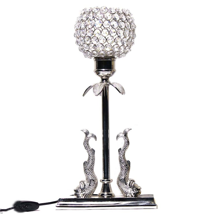 Crystal Floor Lamp With Fish Statue On Nickel Base:  Dining room by M4design