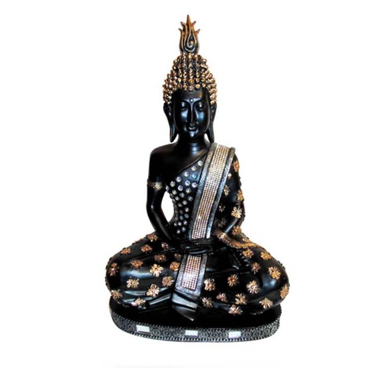 Lord Buddha Black Polystone Statue:  Artwork by M4design