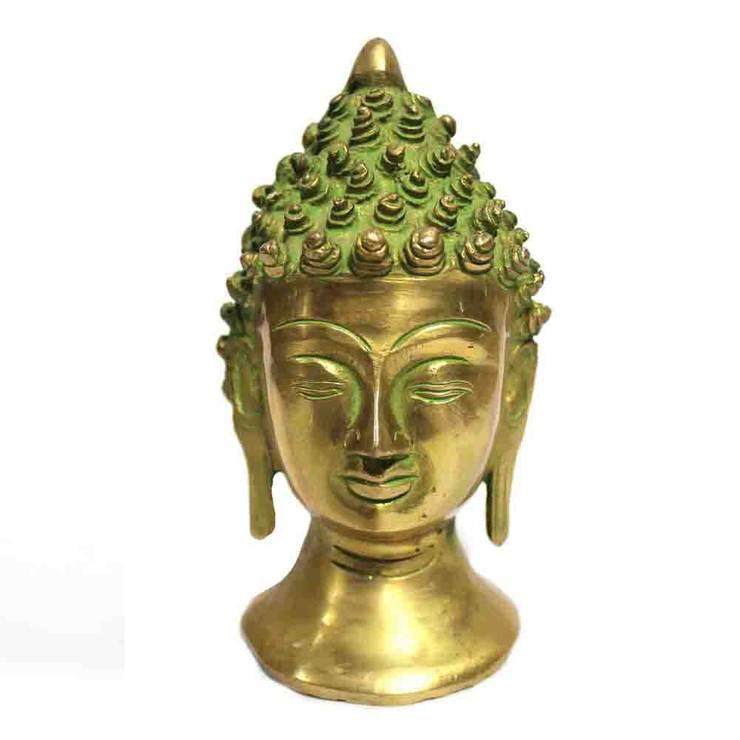 Green Patina Brass Buddha Head Statue:  Artwork by M4design