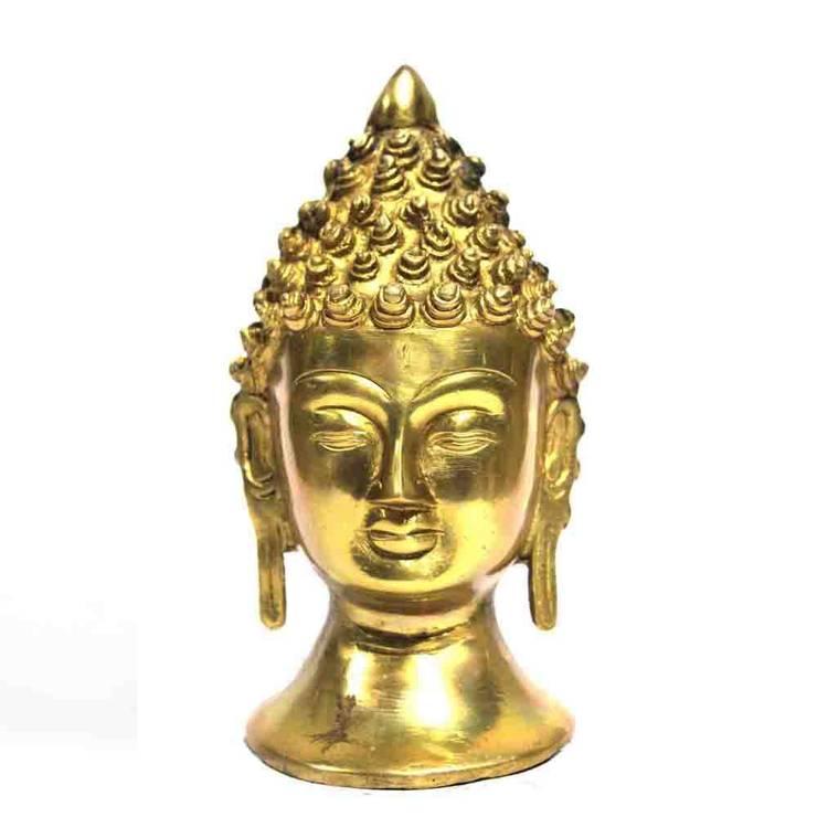 Natural Brass Buddha Head Figure:  Artwork by M4design