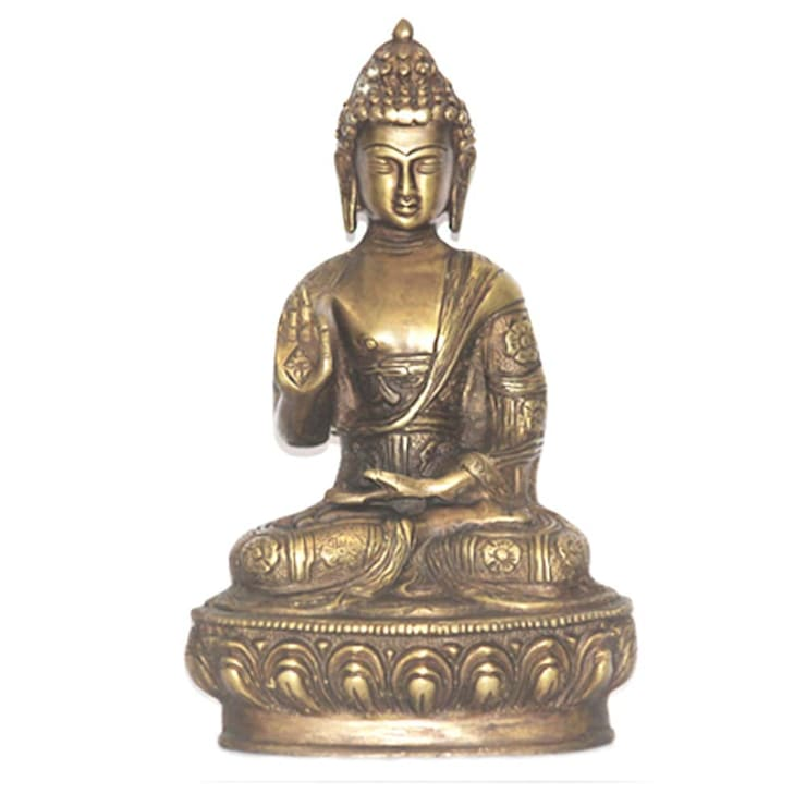 Blessing Buddha Natural Brass Statue:  Artwork by M4design