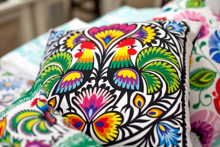 Poduszka w łowickie koguty: styl , w kategorii  zaprojektowany przez Folkstar,Wiejski