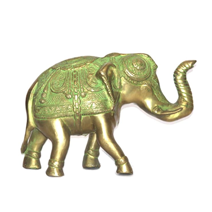 Green Brass Elephant Statue- Feng Shui Symbol of Victory:  Artwork by M4design