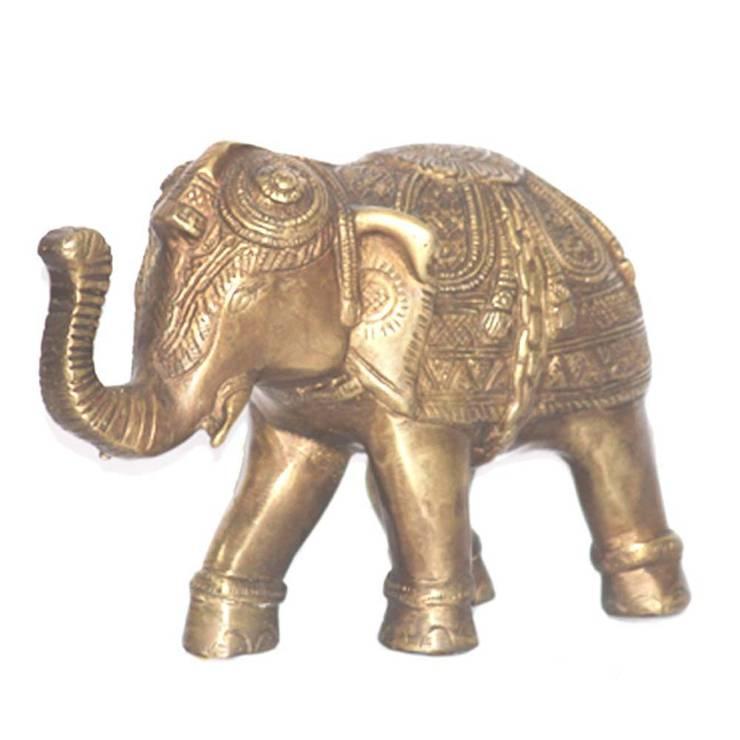 Good Luck Elephant Brass Sculpture:  Artwork by M4design