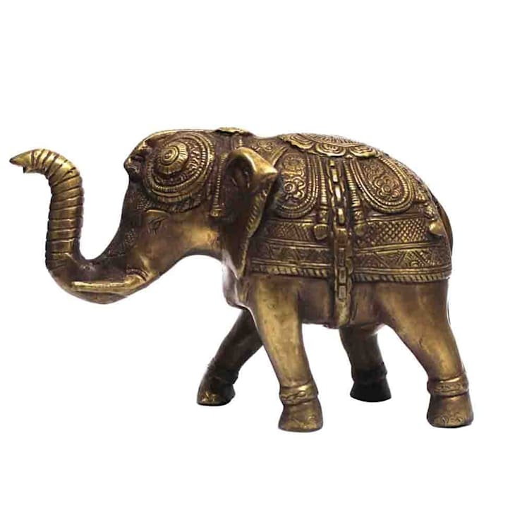 Antique Brass Feng Shui Elephant Figurine:  Artwork by M4design
