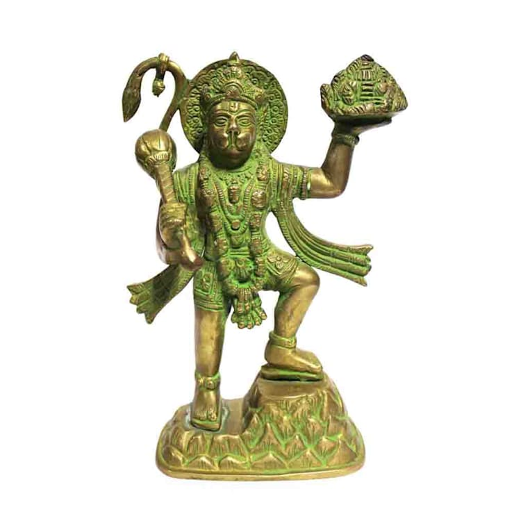 Green Brass Lord Hanuman Statue Carrying Mountain of Herbs (Sanjeevani):  Artwork by M4design