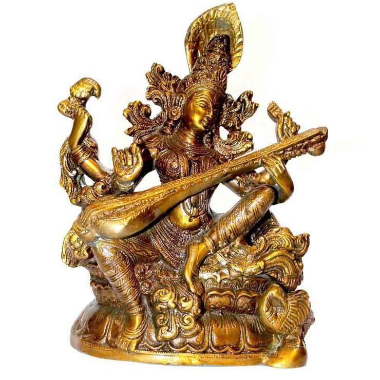 Indian Goddess Saraswati Brass Statue:  Artwork by M4design