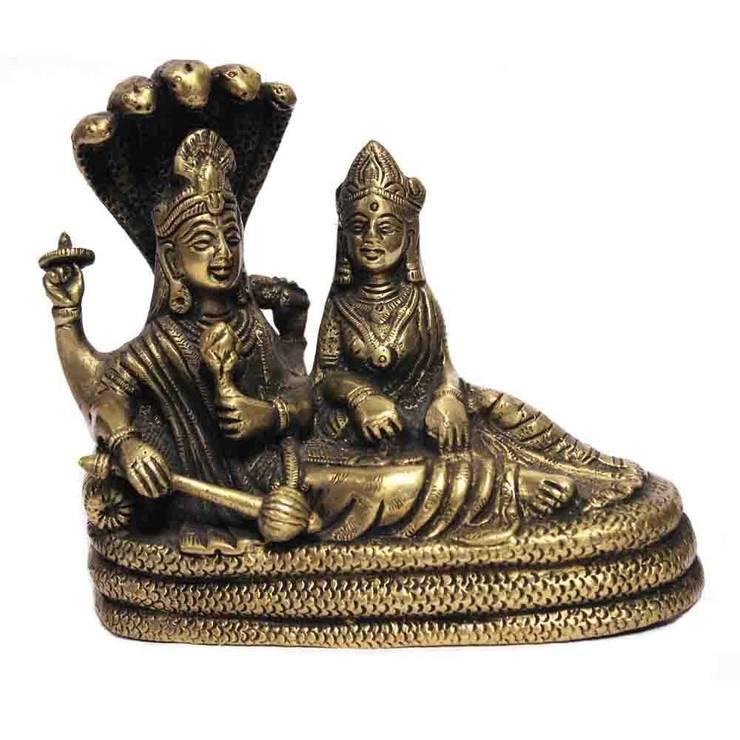 Divine Lord Vishnu Laxmi On Sheshnag Green Brass Sculpture:  Artwork by M4design
