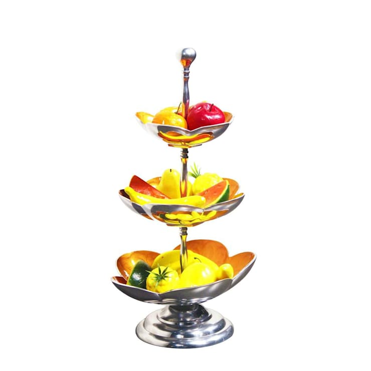 Yellow Enameled 3 Tier Fruit Stand /Cake Stand:  Kitchen by M4design