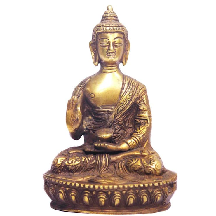 Antique Brass Buddha Figurine:  Artwork by M4design