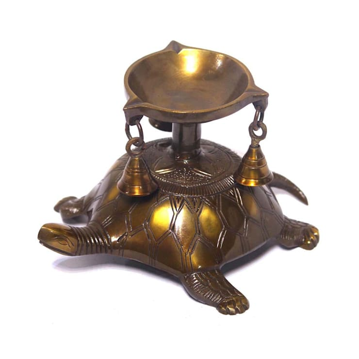 Antique Brass Turtle Oil Lamp:  Artwork by M4design