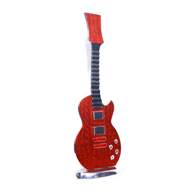 Red Enameled Guitar Showpiece – Home Decor: asian  by M4design,Asian